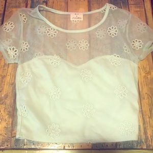 Mint green pins and needles crop top